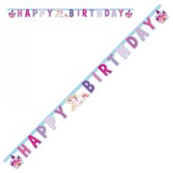 """Guirlande Licornes """"HAPPY BIRTHDAY"""" pour accueillir votre jolie fée et ses invités à un goûter d'anniversaire."""