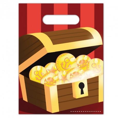 6 Sacs cadeaux Pirate pour ranger les cadeaux-souvenirs et friandises réservés aux petits invités.