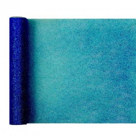 Chemin de table marine à paillettes très élégant. Idéal pour un thème autour de la couleur bleue.