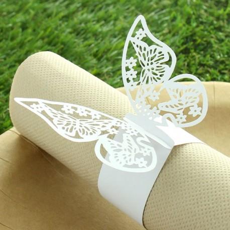 6 Ronds de serviette Papillons Ajourés