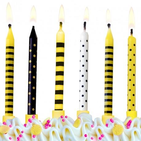 6 Bougie d'anniversaire Abeille pour former une belle décoration sur le gâteau d'anniversaire.