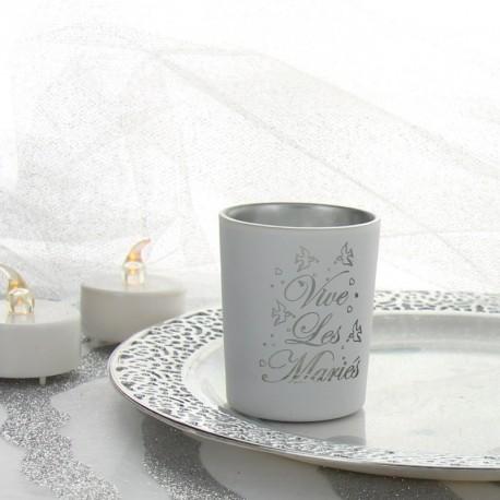 """Photophore """" Vive les mariés"""" pour une fête de mariage marquant l'esprit."""