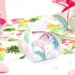 10 petites boites à dragées Flamant Rose