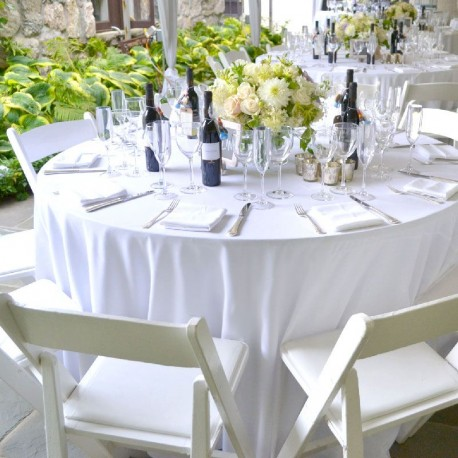 nappe ronde blanche en tissu pour mariage et f tes drag es anahita. Black Bedroom Furniture Sets. Home Design Ideas
