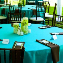 Nappe ronde turquoise Tissu 300cm haut de gamme