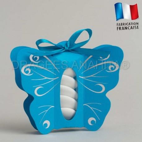 boite drag es papillon turquoise et gris drag es anahita. Black Bedroom Furniture Sets. Home Design Ideas