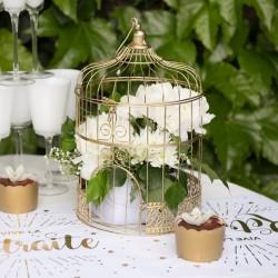Cage Or pour Tirelire ou centre de table pour une décoration rétro et originale.