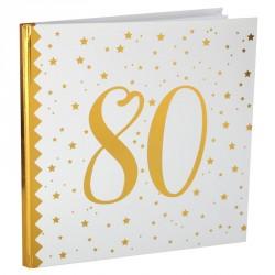 Livre d'or Anniversaire 80 ans blanc et or pour garder un souvenir intemporel de la célébration de vos 80 printemps.