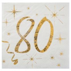 20 Serviettes Anniversaire 80 ans blanc et or pour fêter comme il se doit vos 80 ans.