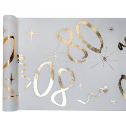 Chemin de table Anniversaire 80 ans blanc et or pour donner de l'allure à vos tables et marquez votre cérémonie d'anniversaire.