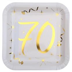 10 Assiettes Anniversaire 70 ans blanc et or pour une décoration de table élégante.