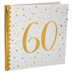 Livre d'or Anniversaire 60 ans blanc et or pour garder précieusement tous les vœux de vos invités.