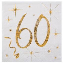 20 Serviettes Anniversaire 60 ans blanc et or pour compléter de façon élégante la décoration de vos tables.