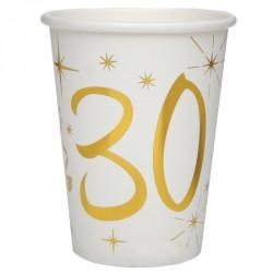 10 Gobelets Anniversaire 30 ans blanc et or pour une décoration de table réussie pour votre fête d'anniversaire.
