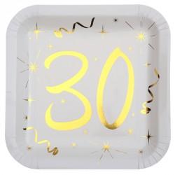 10 Assiettes Anniversaire 30 ans blanc et or pour que votre fête d'anniversaire soit mémorable.