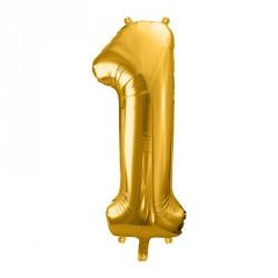 Ballon Chiffre 1 métal Or 35cm