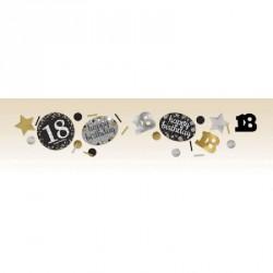 Confettis Anniversaire 18 ans noir et or
