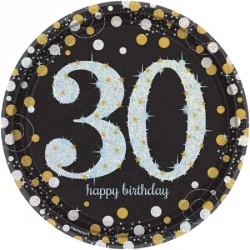 8 Assiettes Anniversaire 30 ans noir et or