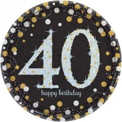 8 Assiettes Anniversaire 40 ans noir et or