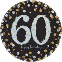 8 Assiettes Anniversaire 60 ans noir et or