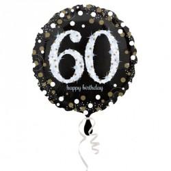 Ballon mylar Anniversaire 60 ans noir et or