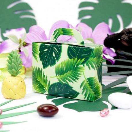10 contenants à dragées Valise Jungle thème exotique et tropical