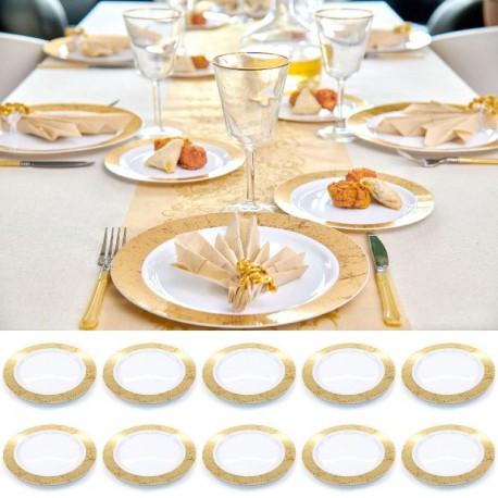 10 grandes assiettes Marbré rigides réutilisables 26cm