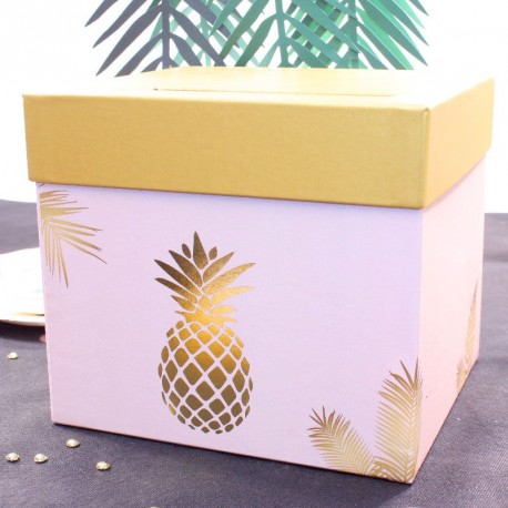 Urne Tirelire Ananas Rose et Gold