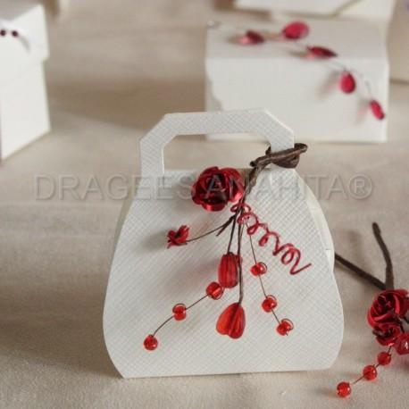 Boite drag es sac a main blancmotif 1 boite drag es de prestige pour mariage naissance et - Petit sac en papier pour mariage ...