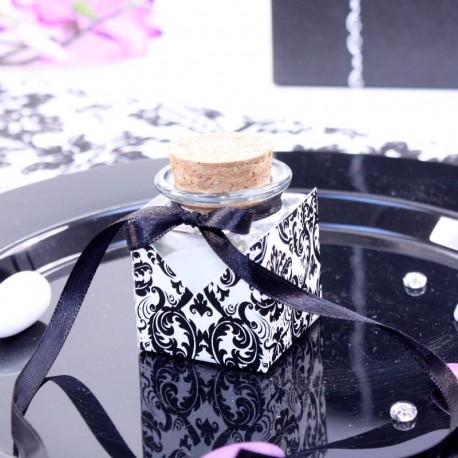 12 Contenants en verre décor Baroque Noir et Blanc