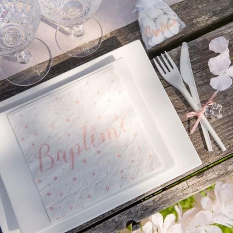 20 Serviettes Baptême Fille