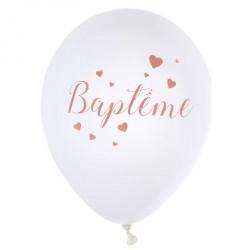 8 Ballons Baptême Fille Corail