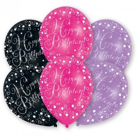 6 Ballons assortis Happy Birthday