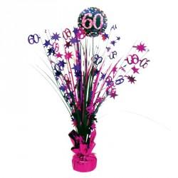 Centre de Table anniversaire 60 ans Noir et Fuchsia