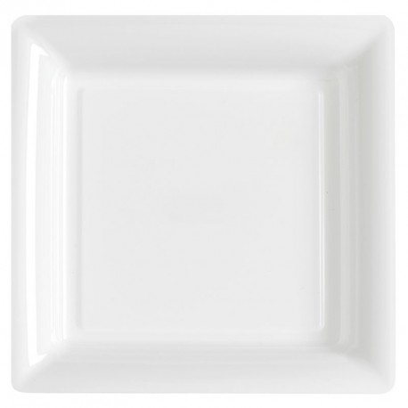 12 grandes Assiettes blanches rigides et réutilisables