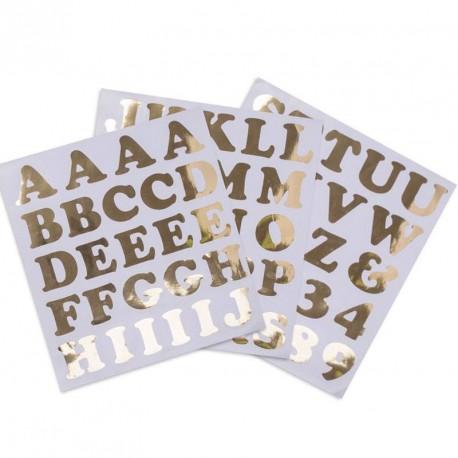 71 Stickers lettres et chiffres Or