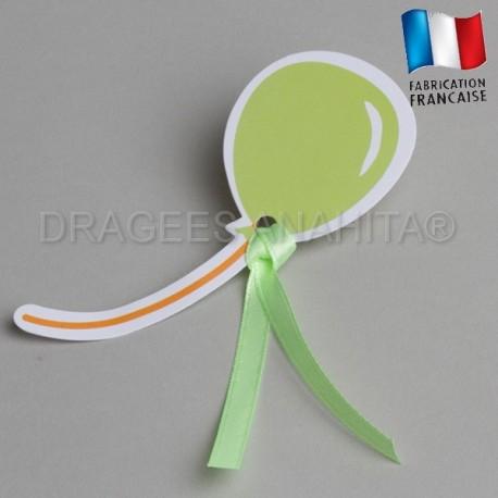Etiquette à dragées ballon vert