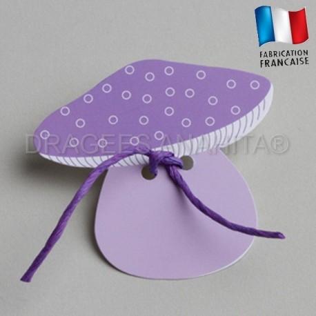Etiquette  à dragées en forme de  champignons violet