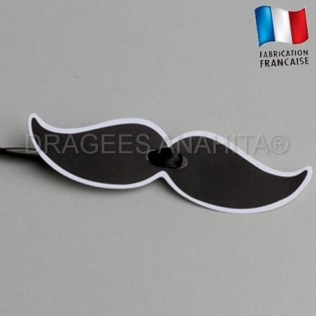 Etiquette à dragées en forme de moustache