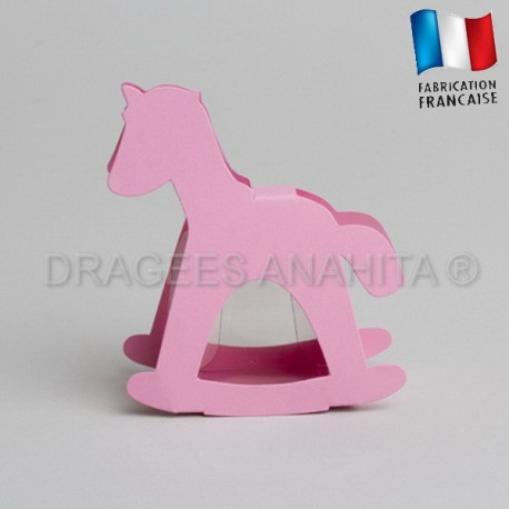 dragées baptême cheval rose