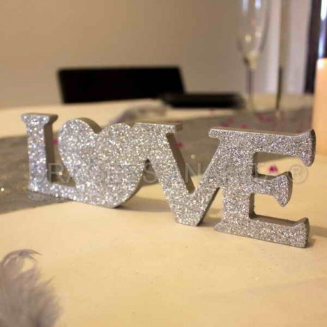 Centre de table LOVE argent