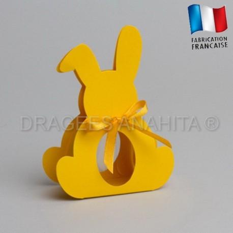 Dragées bapteme lapin jaune