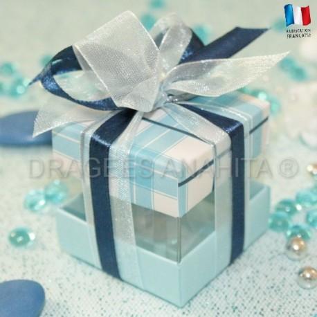 Cube à dragées écossais bleu