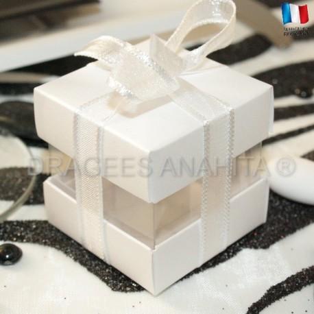 Cube à dragées blanc nacré