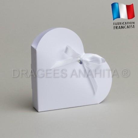 Contenant dragées coeur blanc