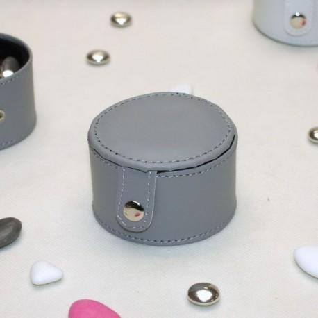Boite ronde à dragées en cuir grise