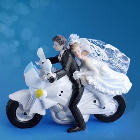 Figurine gâteau de mariage Moto