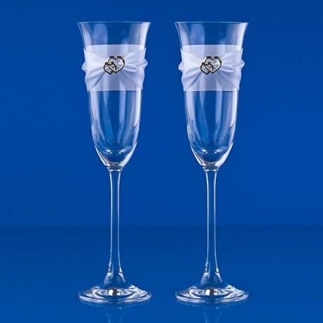 Flûtes à Champagne Coeur doré