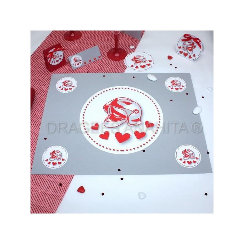 Set de table mariage pompiers drag es anahita - Set de table personnalise plastifie ...