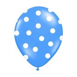 6 Ballons turquoise pois blanc 36 cm